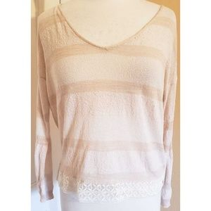 Free People Beige Knit Open Back Stripe Sweater